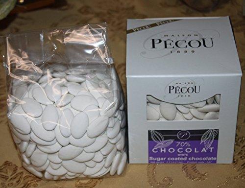 (Dragees Pecou Chocolate Dragees White - Dark Chocolate Sugar Coated White Color One Box of 1 Kilo / 2.2 LBS)