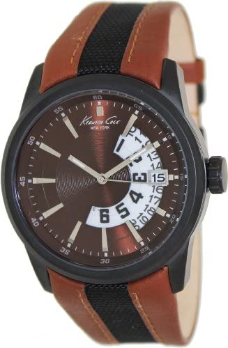 Kenneth Cole Men s KC1764 Two-Tone Leather Quartz Watch with Brown Dial