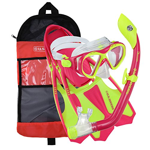Junior Snorkeling Set - U.S. Divers Youth Buzz Junior Snorkeling Set, Neon Pink, S (9-13)