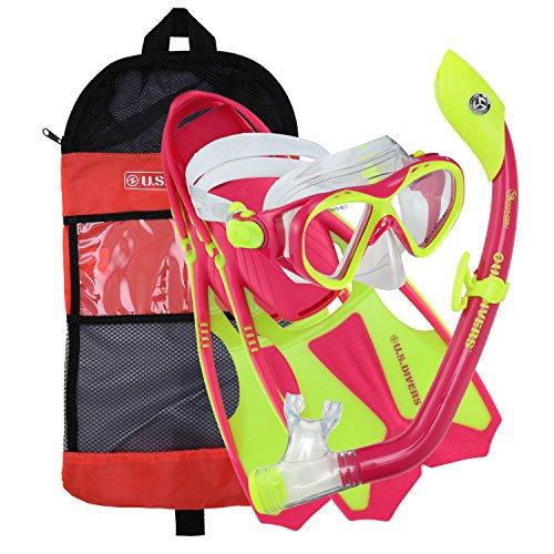 U.S. Divers Youth Buzz Junior Snorkeling Set, Neon Blue, Large (3-6)
