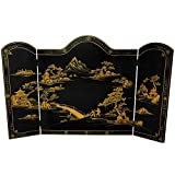 Oriental Furniture Lacquer Fireplace Screen - Black Landscape