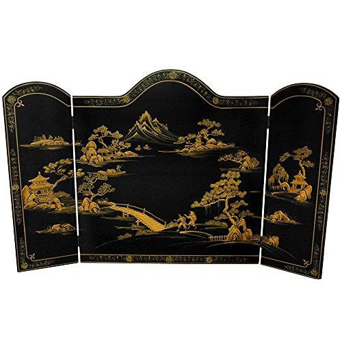 Oriental Furniture Lacquer Fireplace Screen – Black Landscape For Sale