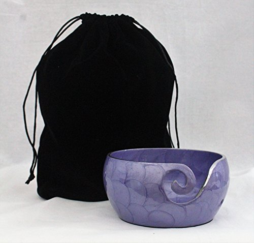 Metal Yarn Bowl Holder - Knitting Bowl With Holes Storage - Crochet Yarn Holder Bowl - Perfect For Mother's Day! (Purple) by Gravity Solutions Crafting