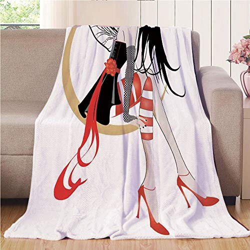 Price comparison product image Blanket Comfort Warmth Soft Cozy Air Conditioning Fleece Blanket Perfect for Couch Sofa Or Bed, Gothic, Stylish Girl with Mask and Wings on the Moon Luna Fantasy Artsy High Heals Fashion, Black Red, 59.