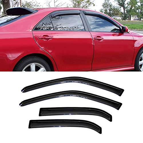 VIOJI 4pcs Dark Smoke Outside Mount Style Sun Rain Guard Vent Shade Window Visors Fit 06 Lincoln Zephyr / 07-12 MKZ / 06-12 Ford Fusion / 06-11 Mercury ()