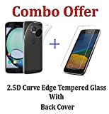 iZAP(COMBO OFFER) Flexible Ultra Slim Premium Silicone Transparent Soft Back Cover + Tempered Glass Screen Protector for Motorola G5 Plus (Moto G5 Plus 5th Generation)