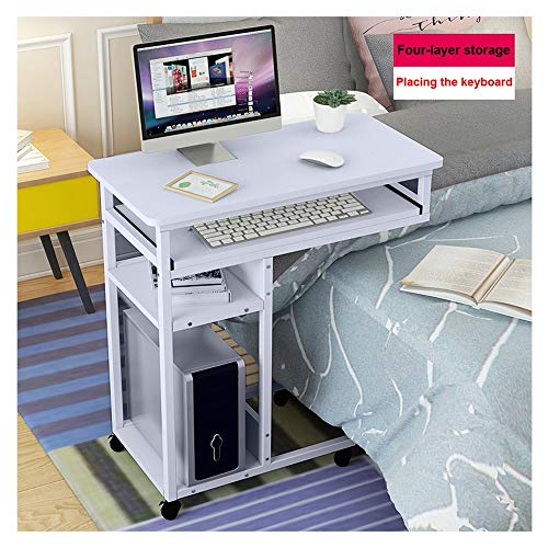(Mijaution Movable Overbed Table - Movable Four-Tier Storage Layer Pullable Drawer Desktop Computer Desk with Wheels - Medical or Household Table (31.5