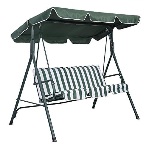 Costway Garden Patio Metal Swing Chair Set 3 Seater Hammock Bench Swinging Cushioned Green & Black (Green)