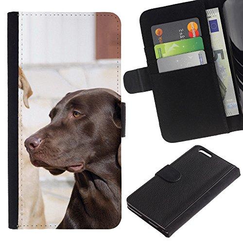 OMEGA Case / Apple Iphone 6 PLUS 5.5 / Labrador retriever black lab dog / Cuir PU Portefeuille Coverture Shell Armure Coque Coq Cas Etui Housse Case Cover Wallet Credit Card