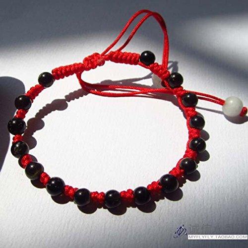 Natural Obsidian Black snow red string bracelet Ly Bracelet transfer beads handmade bracelet evil transit