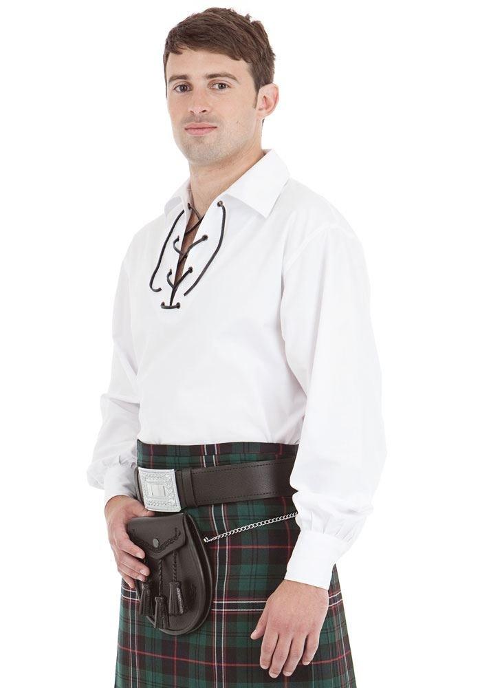 Kilt Society Mens White Scottish Jacobite Ghillie Shirt XX-Large by Kilt Society (Image #1)