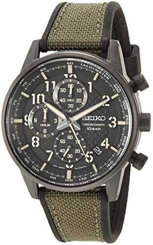 Amazon.com: Seiko Men's Chronograph/Essentials Stainless Steel Japanese  Quartz With Silicone Strap, Green (Model: SSB373): Watches