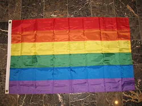 AES 5x8 Embroidered Sewn Solarmax Nylon Gay Lesbian Rainbow Stripes Pride Flag 5'x8' ()