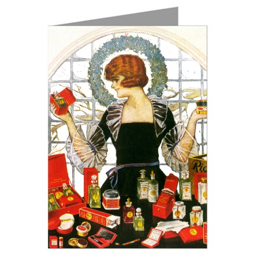 Vintage Art Deco Woman with a Myriad of Christmas Gifts Holiday Greeting Card Set