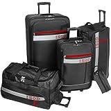 IZOD Luggage Metro 5 Piece Set, Black, Large, Bags Central