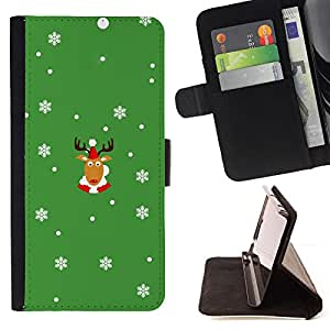 BullDog Case - FOR/Apple Iphone 5 / 5S / - / rein deer winter horns christmas snow flakes /- Monedero de cuero de la PU Llevar cubierta de la caja con el ID Credit Card Slots Flip funda de cuer