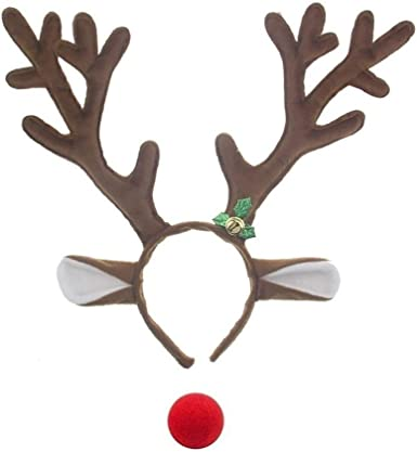 LOLANTA Reindeer Antlers Headbands with Red Nose for Adults Kids Christmas Santa Parties