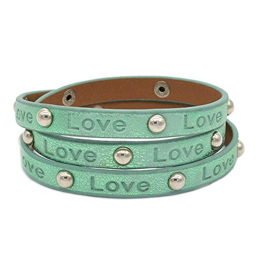 [Victoria Echo Alloy Button Engraved Love Leather Cuff Wrap Bracelet for Women Mint Green] (Fantasy Life Angel Costume)