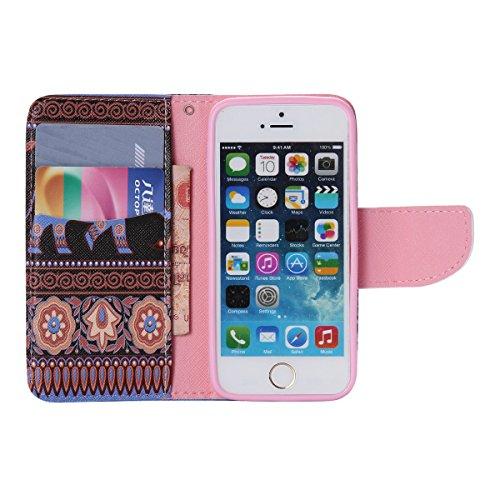 iPhone 5 / 5S Coque , Apple iPhone 5 / 5S Coque Lifetrut® [ éléphant pourpre ] Luxe Premium Portefeuille Flip mignon Coque TPU souple Folio en cuir PU intégré dans la carte Slots Coque Etui pour Apple