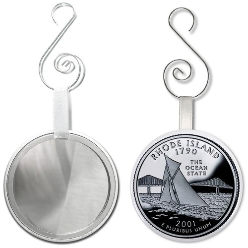 RHODE ISLAND State Quarter Mint Image 2.25 inch Glass Mirror Backed Ornament ()