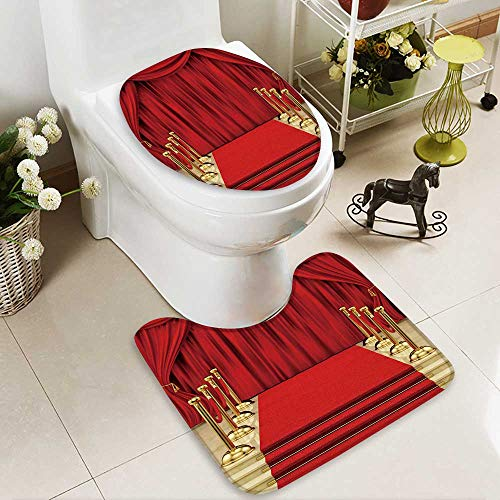 2 Piece Bathroom Mat Set Render of a red Carpet with Gold stanchions and Curtains Personalized Durable -