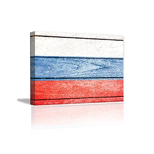 Paintings Of Russia (Wall Decor Rustic Home Decor Canvas Wall Art Russia Flag On Vintage Wood Background Modern Painting Living Room/Bedroom /Store /Home Decoration Stretched and Ready to Hang 11.81 x 15.74inch(Russia))