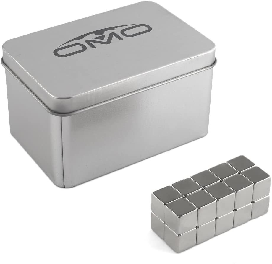 OMO 20 Pezzi Calamita Magneti Neodimio NdFeB N50 12x12x12mm Cubetti Cubi Quadrati Parallelepipedo Rettangolo Forte