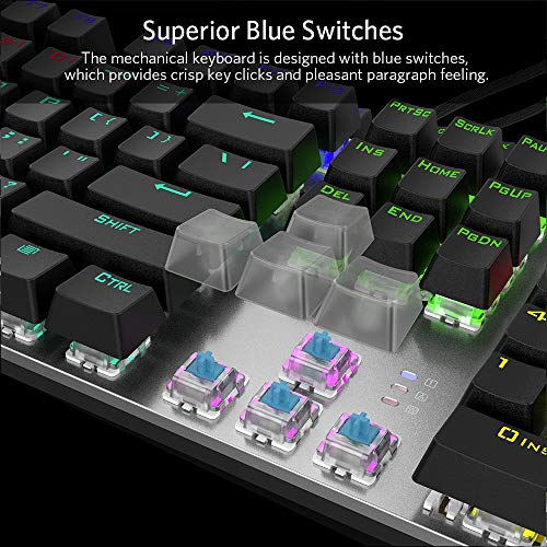 FIODIO Mechanical Gaming Keyboard, Fantastic LED Rainbow Backlit Wired Keyboard, Full Anti-Ghosting Keys, with Quick-Response Blue Switches and Multimedia Control for PC and Desktop Computer