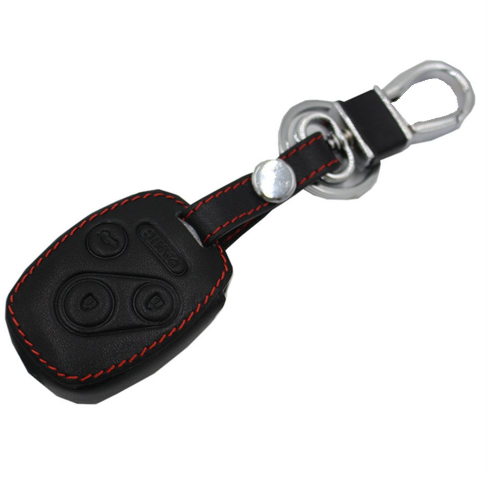 Black Leather Rubber Keyless Entry Remote Key Fob Case Skin Cover Protector for Honda 3+1 Buttons