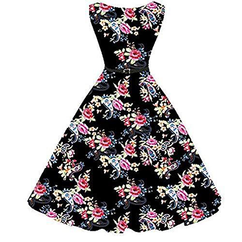 Liyizo Années 50 Rockabilly Rétro Des Années 60 Balancez Robe Vintage Robes De Bal Floral D'impression Occasionnel