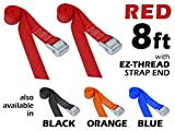 1½'' x 8ft PowerTye Made in USA Heavy-Duty Lashing Strap with Heavy-Duty Buckle, Red, 2-Pack