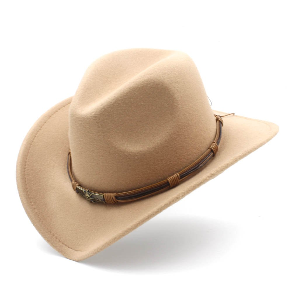 Womens Fashion Western Cowboy Hat With Punk Blet Lady Felt Cowgirl Sombrero Caps, by jdon-hats, (Color : Khaki, Size : 56-58CM)
