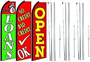 Pack of 3 Easy Loans no Credit Bad Credit ok Open King Swooper Feather Flag Sign Kit with Pole and Ground Spike