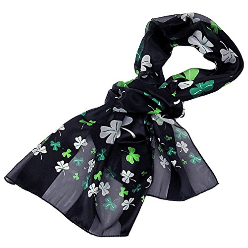 Purple Box Jewelry Shamrock Scarf One Size (Black)