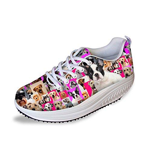 Hugs Idea Pink Fashion Platform Sneakers Fitness Zapatos Para Caminar Para Mujeres Boston Terrier