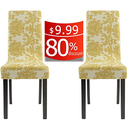 Homluxe Printed Spandex Stretch Dining Room Chair Slipcovers (2, Gold Tree) ()