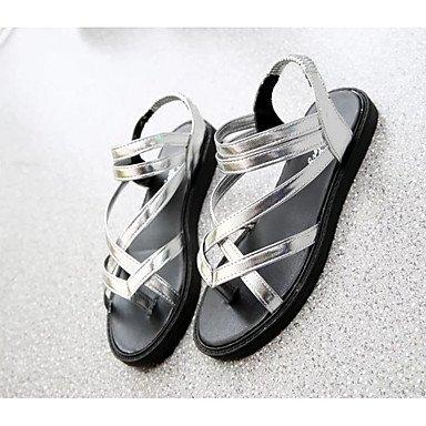 Sandalias mujer confort PU Primavera Verano vestimenta casual comodidad talón Plano Plano Plata Negro US6 / EU36 / UK4 / CN36