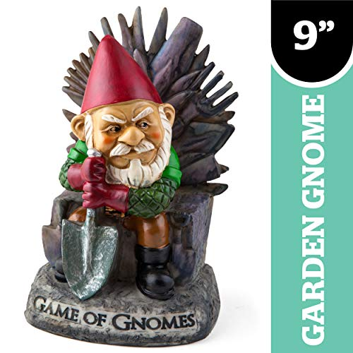 Big Mouth Inc. Game of Gnomes Garden Gnome - Comical Garden Gnome, Hand-Painted Weatherproof Ceramic Lawn Gnome, Makes a Great Gift, 9.5