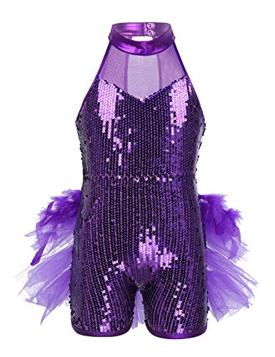Dance Biketard Costumes - Yeahdor Kids Girls' Shiny Sequins Latin