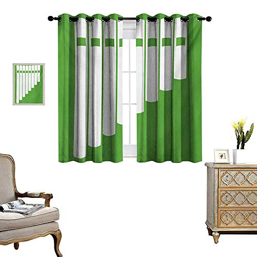 Pan Flute Patterned Drape for Glass Door White Abstract Panpipe Simple Icon on Green Background Peruvian Ethnic Waterproof Window Curtain W55 x L39 Lime Green and White
