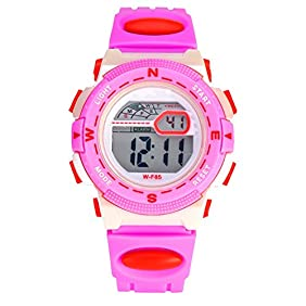 AZLAND Waterproof Time Teacher Kids Children Girls Sports Digital Watches,Alarm,Chime,Stopwatch,Date/week/month,Silicon Strap, Pink