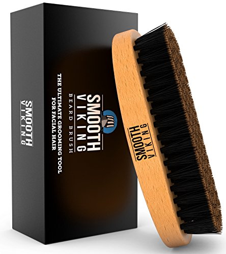 Beard Brush for Men - With Wild Boar Bristles for Easy Grooming - Facial Care Hair Comb for Beards & Mustache Conditioning, Styling & Maintenance - Distributes Products & Natural Wax