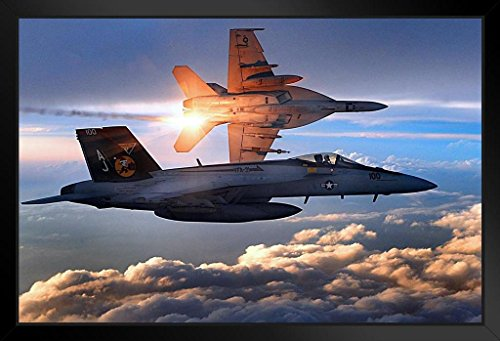 FA 18E Super Hornet Photo Art Print Framed Poster 20x14 inch ()