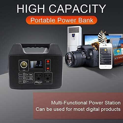 Meterk Portable Power Station Power Supply with Flashlight Outdoor Advanture Camping Travel Hunting 21 300Wh Emergency Solar Generator with 110V AC Outlet 2 DC Ports 3 USB Ports Without Solar Panel