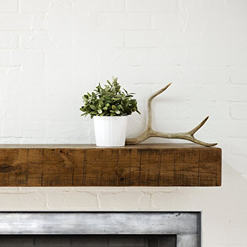 Dogberry Collections Rustic Mantel Shelf, 60-inch, Aged Oak