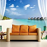 3D living room TV background wall paper out of the bedroom ocean view large murals 300cmX220cm