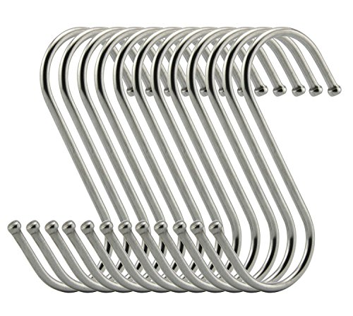 RuiLing Premium S Hooks - S Shaped hook - Heavy Duty Stainless Steel Hanger Hooks - Ideal for hanging pots and pans, plants, utensils, towels etc. Size Large Set of 12 ()