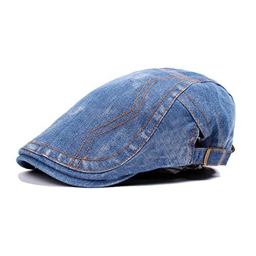 Washed Denim Gatsby Cabbie Ivy Newsboy Cap Hat Hunting (Medium - Cap Denim Ivy