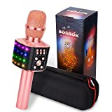 BONAOK Upgraded Wireless Bluetooth Karaoke Microphone with controllable LED Lights, 4 in 1 Portable Bluetooth Karaoke Machine Home Party Speaker Mother's Day gift for Android/iPhone/PC (Rose Gold)