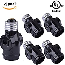 SerBion 4 Pack Black E26/E27 the US Standard Screw Light Holder Socket Adapter,E26 to E26/E27 Lamp Holder and Two Outlet Adapter , Convenient and Practical (4 Pack)